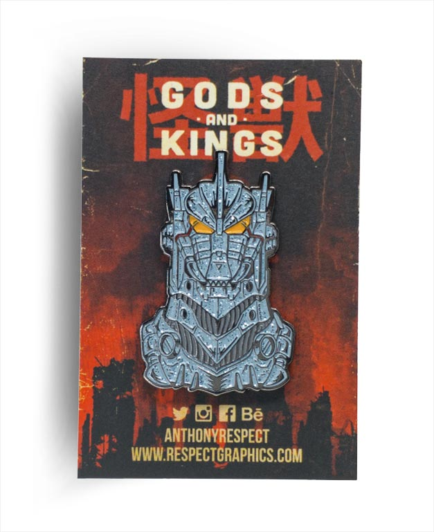 Mechagodzilla Kiryu Blue Steel Edition Black Nickel Finish Kaiju Gods and Kings Enamel Pin By Respect