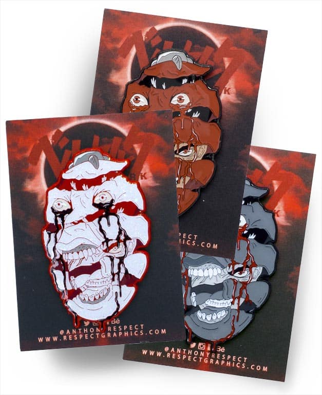 Berserk Behelit Guts Triple Set With Nega Edition Soft Enamel Pin With Epoxy ScreenPrint By Respect