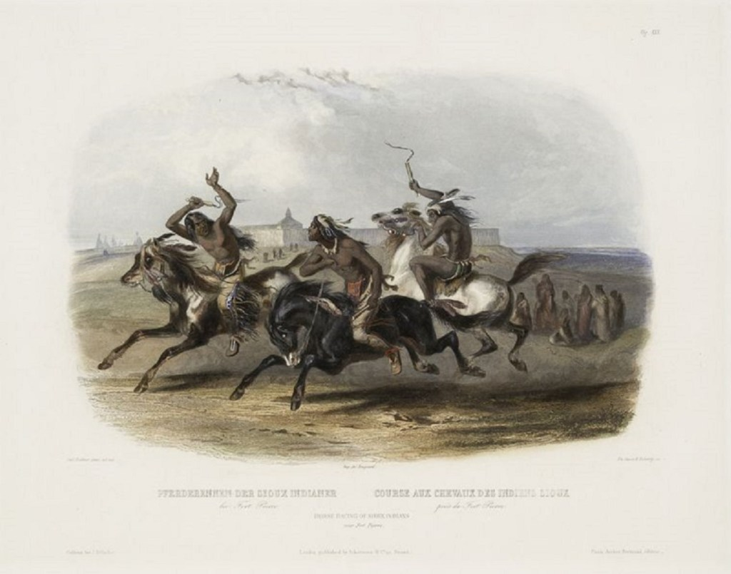 Course aux chevaux des Indiens Siou, près du Fort Saint-Pierre. 1840-1843. Crédit photo : the New York Public Library Digital Collections