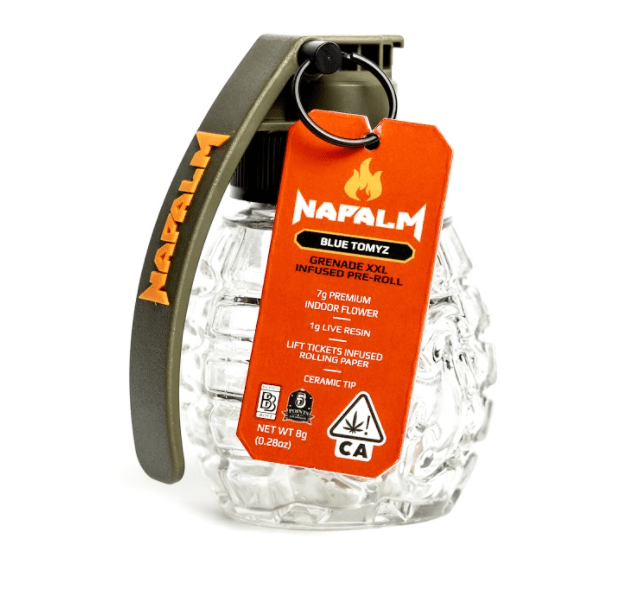a photo of the 8 gram napalm grenade preroll joint