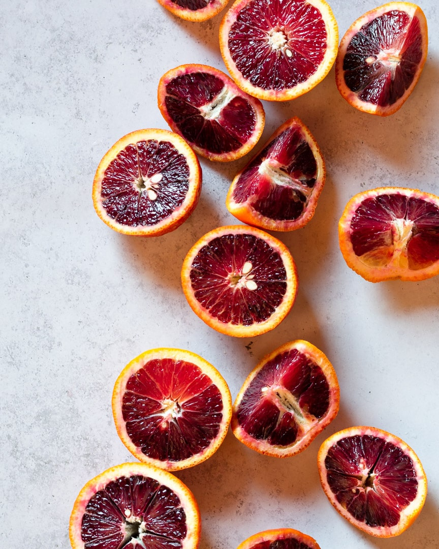 close up of blood oranges