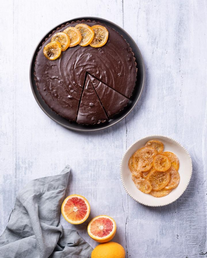 chocolate orange ganache tart with candied oranges and blood oranges