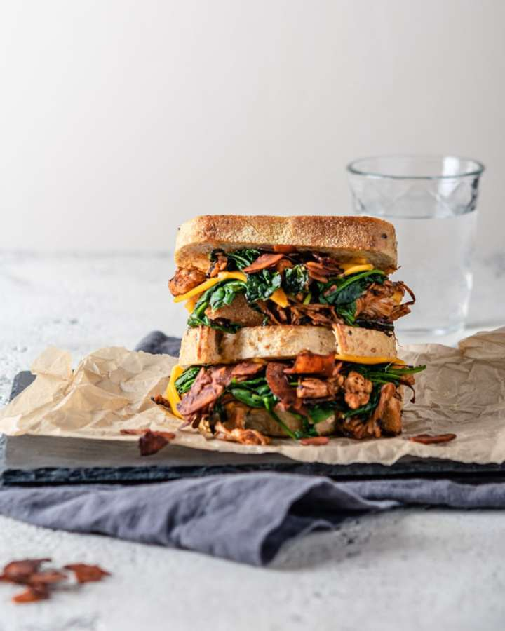 Jackfruit Grilled Cheese Sandwich with Coconut Bacon