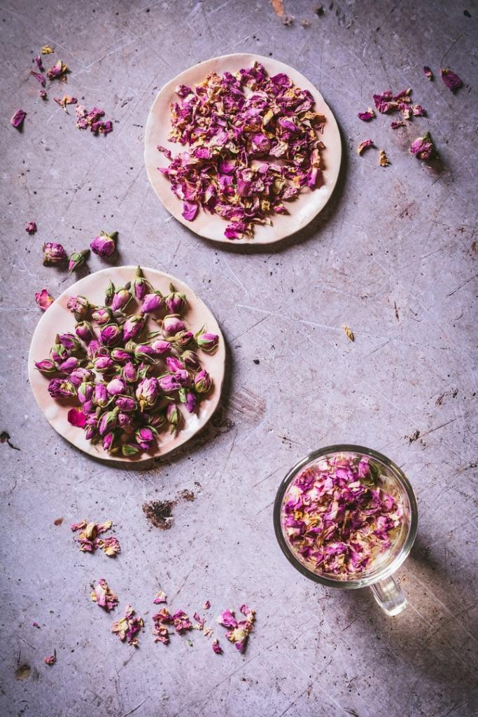rosebud tea with rose petals