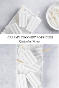 creamy coconut popsicles on white plate with coconum cream