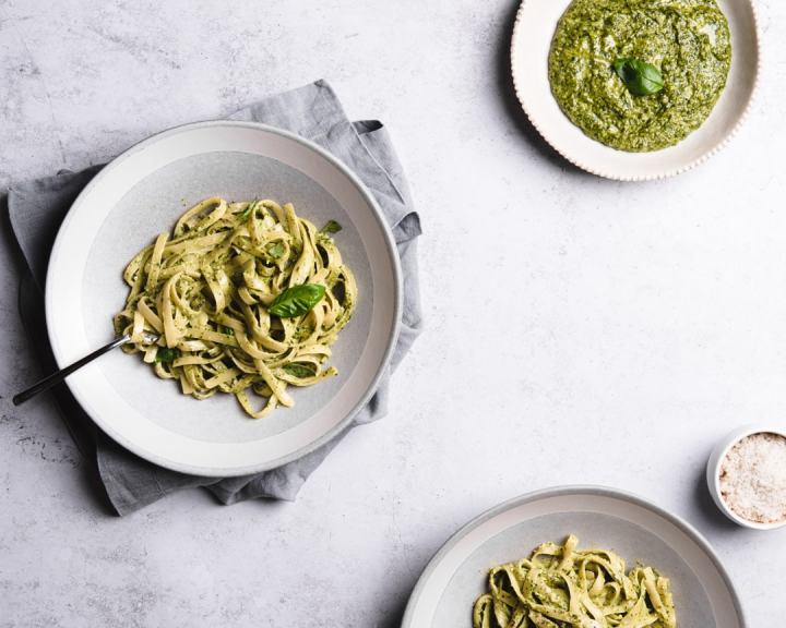 perfect vegan pesto pasta on plates
