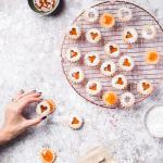 Linzer cookies Assembly with apricot preserves