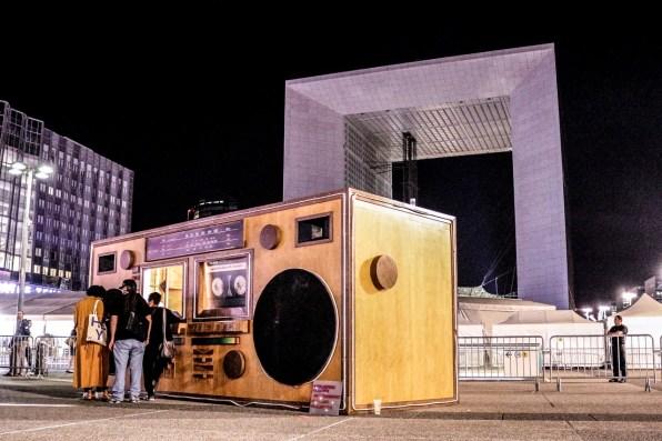 Ghettoblaster Géant - Scène DJ / bois et matériel réemployé