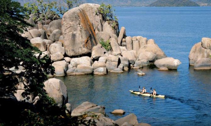 Tourists boat riding at Lake Malawi