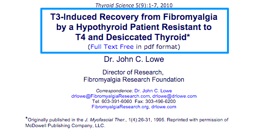 T3 induced recovery from fibromyalgia