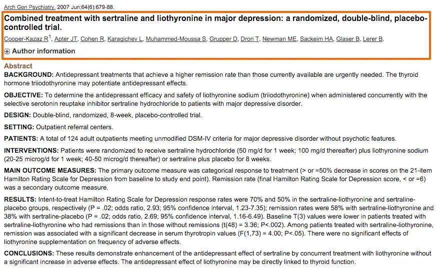 Depression treated with liothyronine