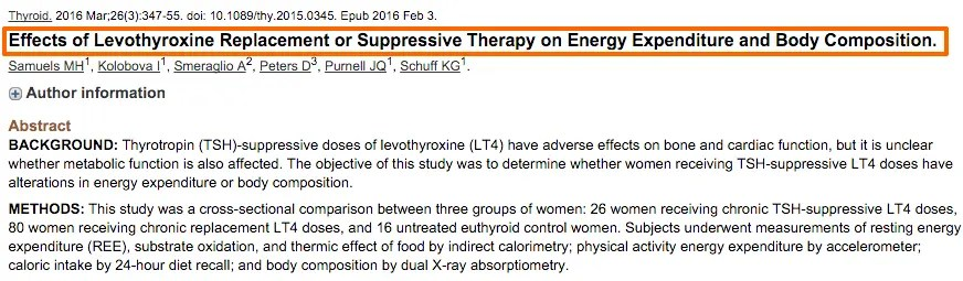 Levothyroxine and metabolism