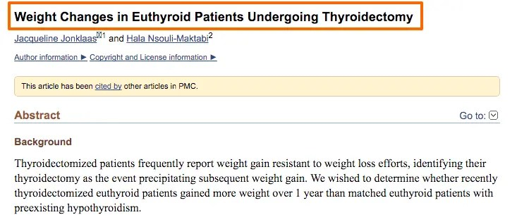 Weight gain after thyroidectomy