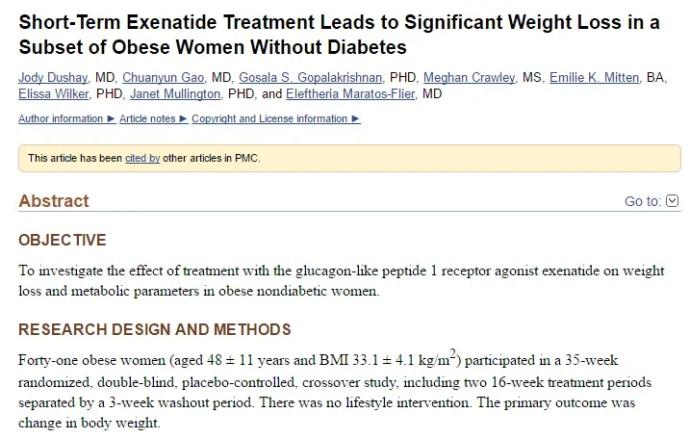 exenatide for leptin resistance