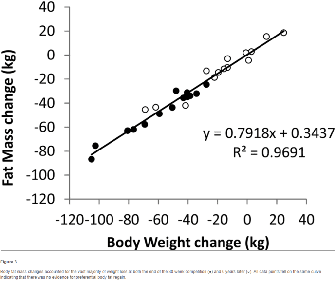 weight gain and fat mass over time with calorie restriction