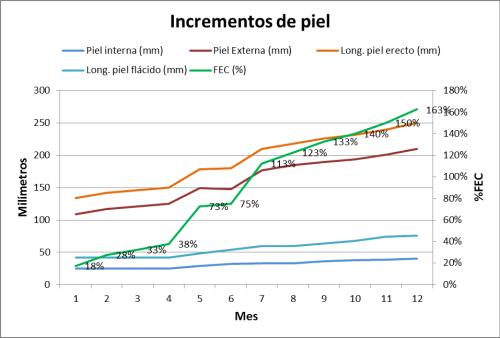 Grafica del progreso de incrementos de piel