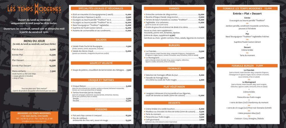 La Carte Et Les Menus Brasserie Les Temps Modernes