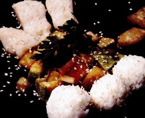 Peşte cu dovlecei si orez