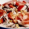 Salată de paste cu legume si branza de capra