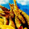 Sardine în crustă de alune cu fructe