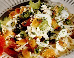 Sepie cu germeni de soia şi legume