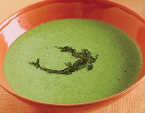 Supa rece de mazare cu sos pesto