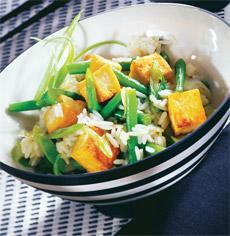 Orez cu tofu si fasole verde