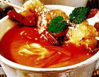 Supa de morcovi cu frigaruie de creveti