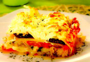 Lasagna cu vinete şi ton