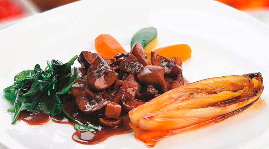 Rinichi de porc cu sos de porto si ciuperci