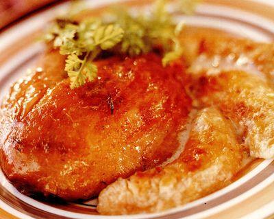 Bibilica fripta cu curry si banane gratinate