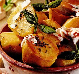 Cartofi copţi cu migdale si busuioc
