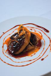 Escalop de foie gras cu rubarba si portocala confiata