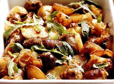 Carnati, dovleac si cartofi la cuptor