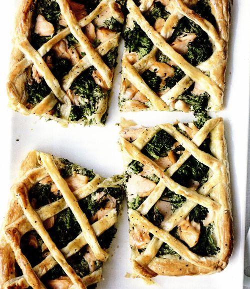 Tartă cu somon şi broccoli