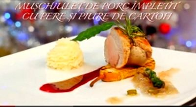 Cum_se_prepara_Muschiulet_de_porc_împletit_cu_pere_si_piure_de_cartofi