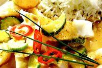 Biban prajit cu curry rosu si lychee