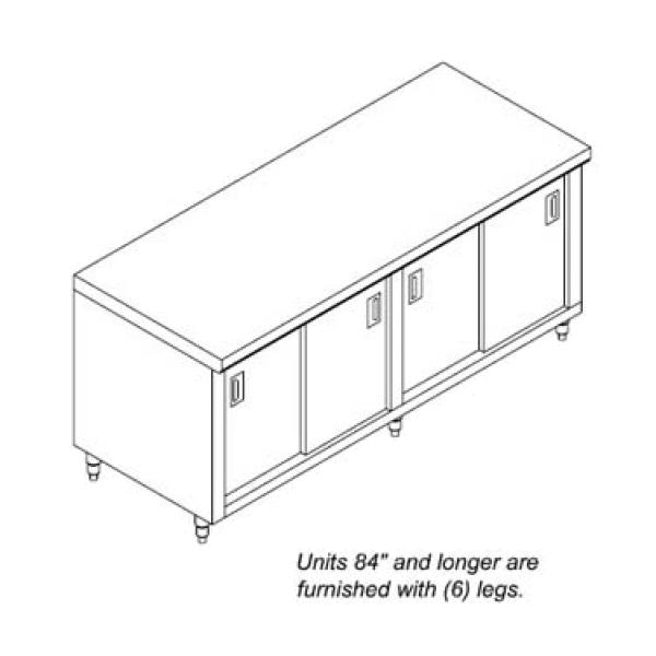 Standard Series Work Table, cabinet base with sliding