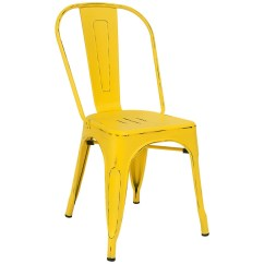 Metal Bistro Chairs Chocolate Dining Chair Covers Style In Distressed Yellow Finish