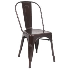 Metal Bistro Chairs White Bedroom Vanity Chair Indoors Style In Brown Finish