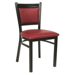 Steel Vinyl Chair Small Cushions Black Metal With Burgundy Seat And Back