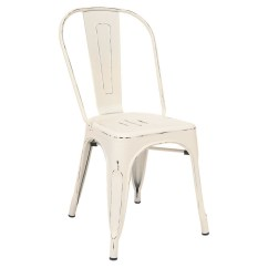 White Bistro Chairs Antique Table And Style Metal Chair In Distressed Finish