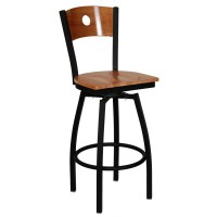 Interchangeable Back Metal Swivel Bar Stool with a Circled ...