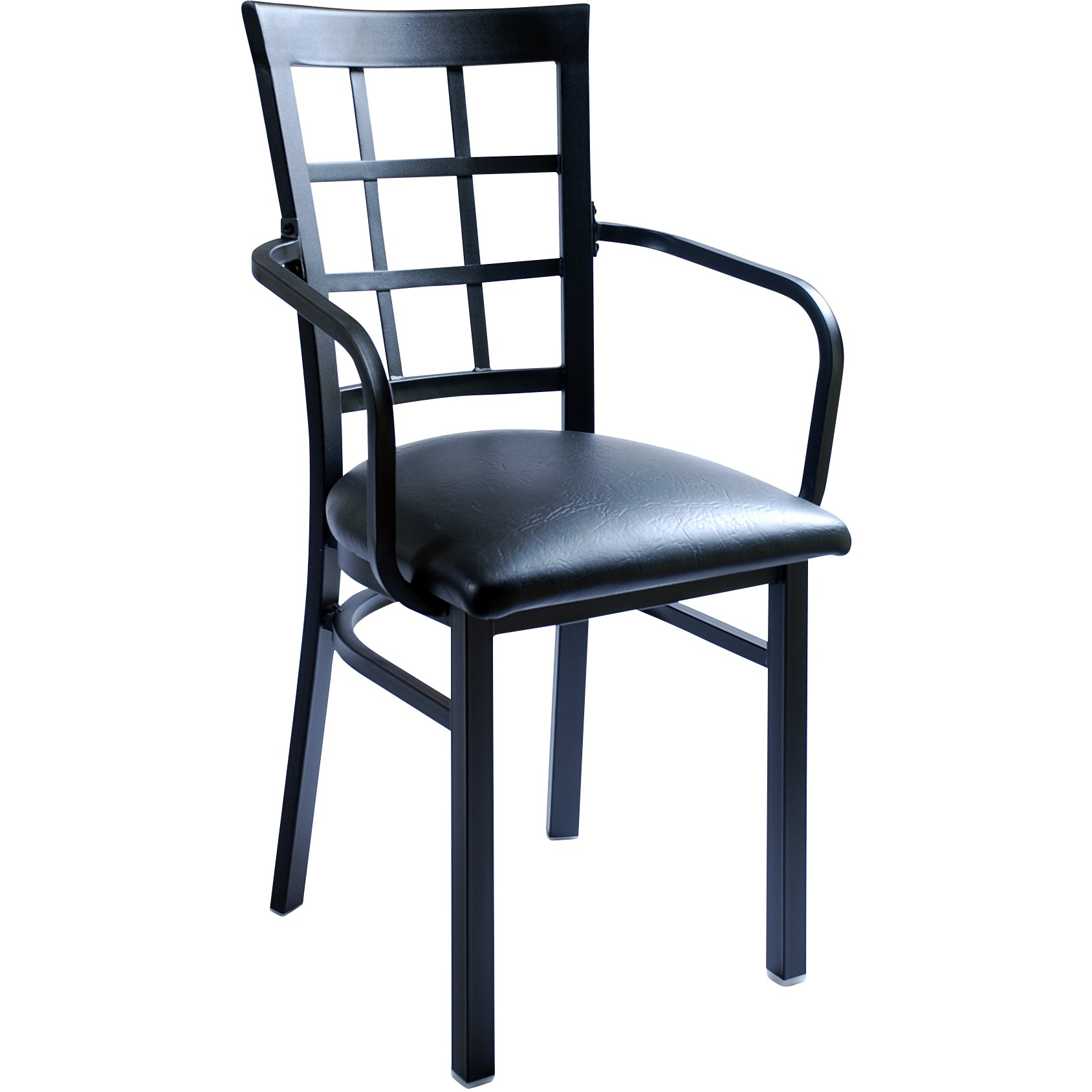 steel net chair gliding with ottoman window back metal restaurant arms black frame a vinyl seat