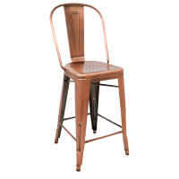 Bistro Style Metal Bar Stool in Copper Finish