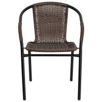 Dark Brown Rattan Patio Chair with Black Powder Coated ...