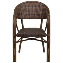 Dark Brown Rattan Chair With Bamboo Aluminum Frame