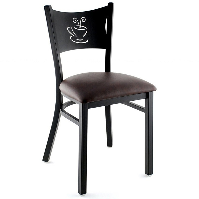 wooden restaurant chairs with arms rattan chair repair kit metal coffee cup black frame a wine vinyl seat