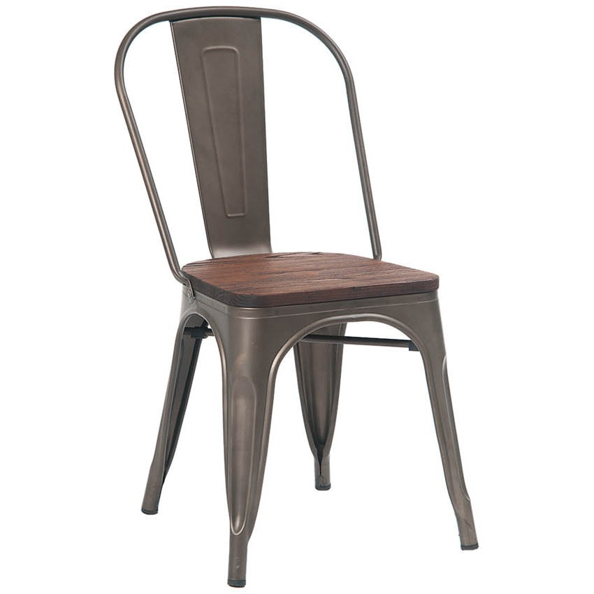 Bistro Style Metal Chair in Dark Grey Finish and Walnut