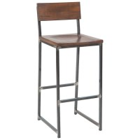 Industrial Series Metal Bar Stool with Wood Back and Seat